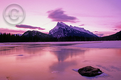 Mt Rundle and 2nd Vermilion Lake at dawn in Banff National Park
