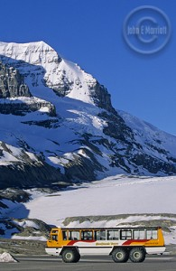 The Snocoach poised and ready to embark on the Columbia Icefields.