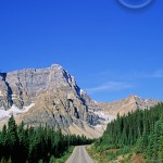 The not so long but winding road from Banff to Lake Louise.