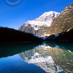 Mount Edith Cavell reflecting on Edith Cavell Lake.