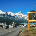 The beautiful mountains views from downtown Canmore.