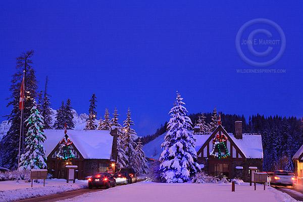 Banff East Park Gate in holiday season in winter, Banff National Park, Alberta, Canada